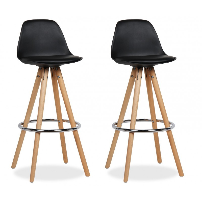 Set De 2 Tabourets De Bar Lot 2 Tabourets De Bar Design Pieds Bois Noir - Diana