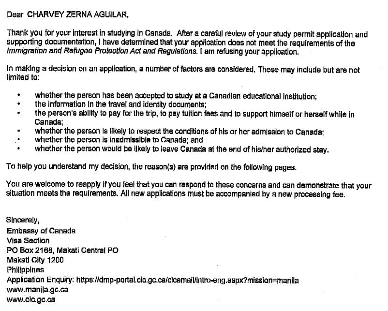 IRCC Application Refusal \u2013 Example of Internal Reasons for Study - refusal letter
