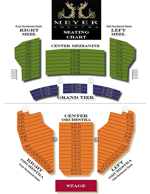 Seating Chart Meyer Theatre Green Bay, WI