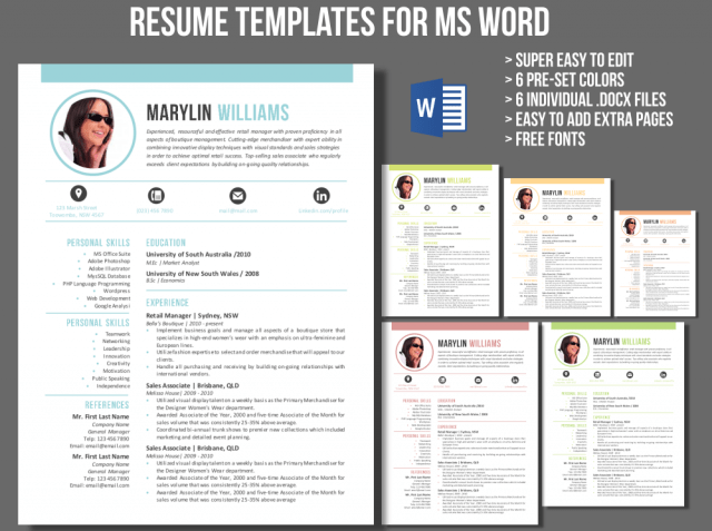 how to add a resume template in word