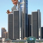 George W, Bush behind RenCen
