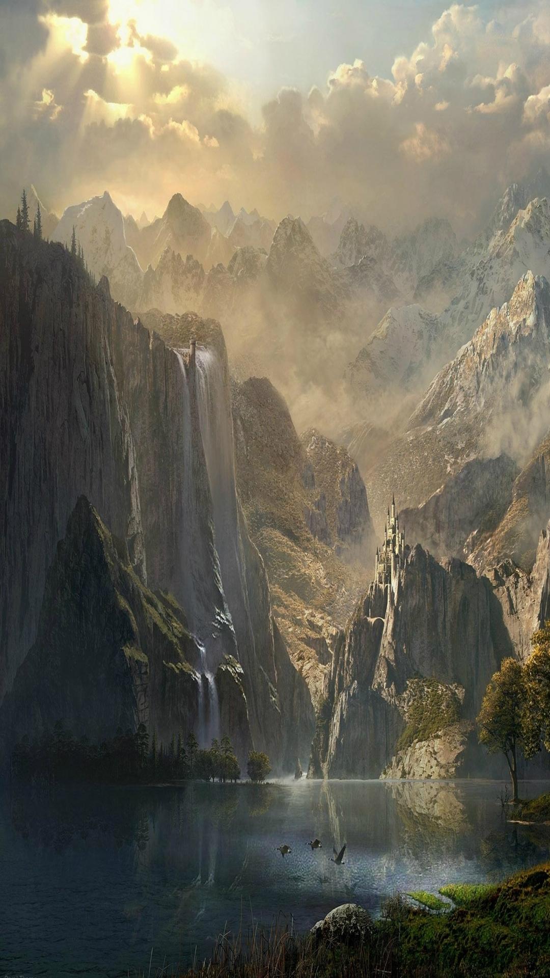 Skyrim Wallpaper Fall Iphone 6 Fantasy Landscape Wallpaper Id 247411