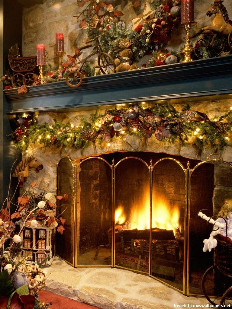 Christmas Fireplace Wallpaper Holiday Christmas 768x1024 Wallpaper Id 595230 Mobile Abyss