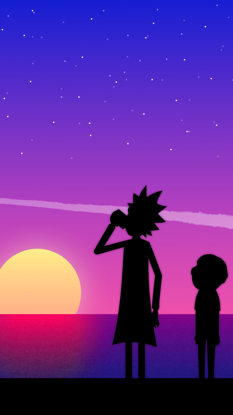1920 Car Synthwave Wallpaper 720x1280 Cartoon Rick And Morty Wallpaper Id 672596
