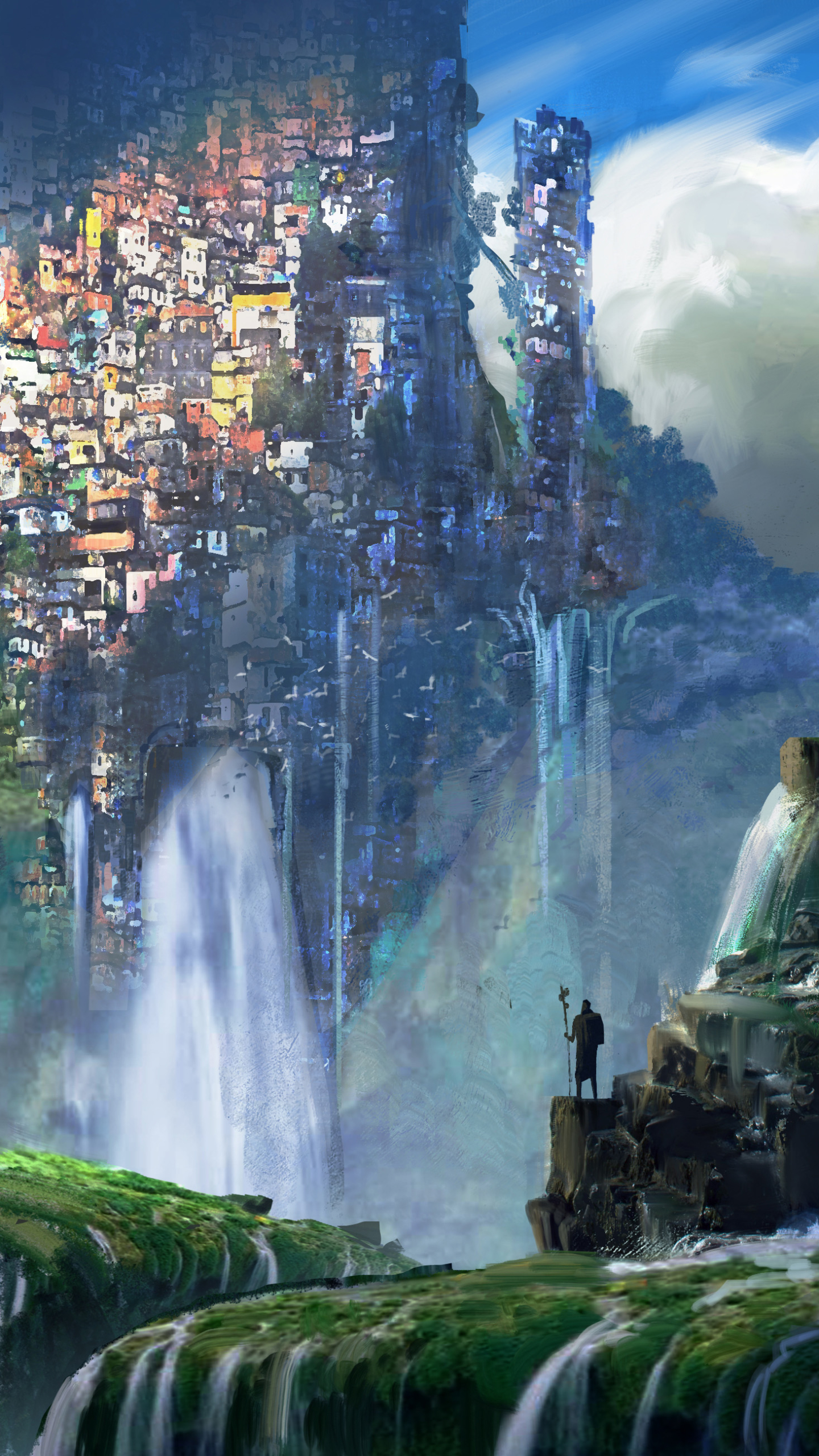 Cool Wallpapers Water Fall Fantasy City 1440x2560 Wallpaper Id 710462 Mobile Abyss