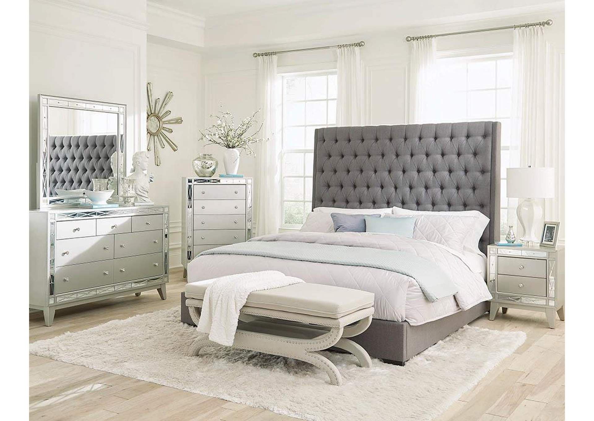 Satin Linen Camille Grey Upholstered California King Bed The Furniture Loft