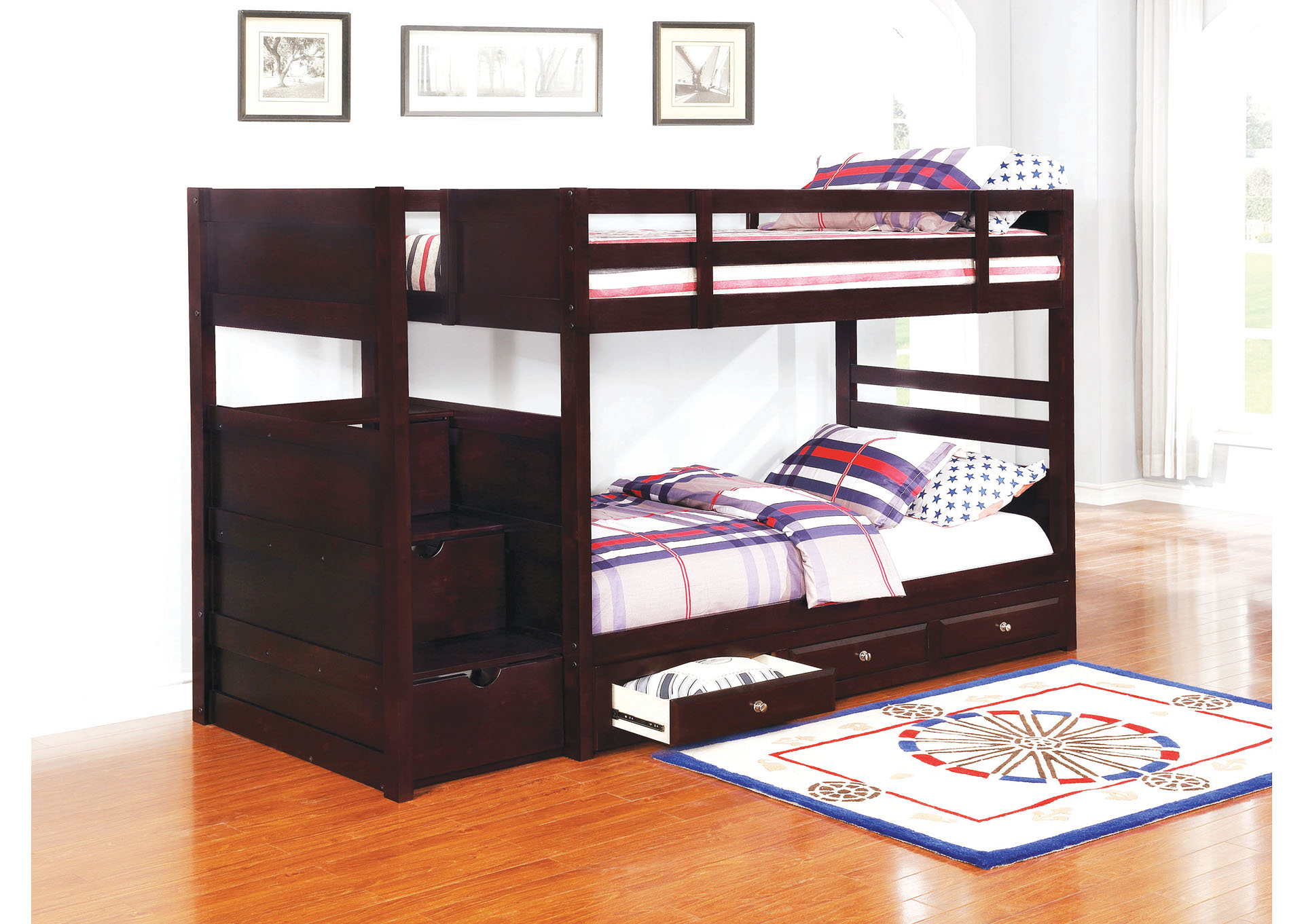 Cocoa Brown Elliott Transitional Cappuccino Twin Over Twin Bunk Bed Mr Discount Furniture Chicago Il