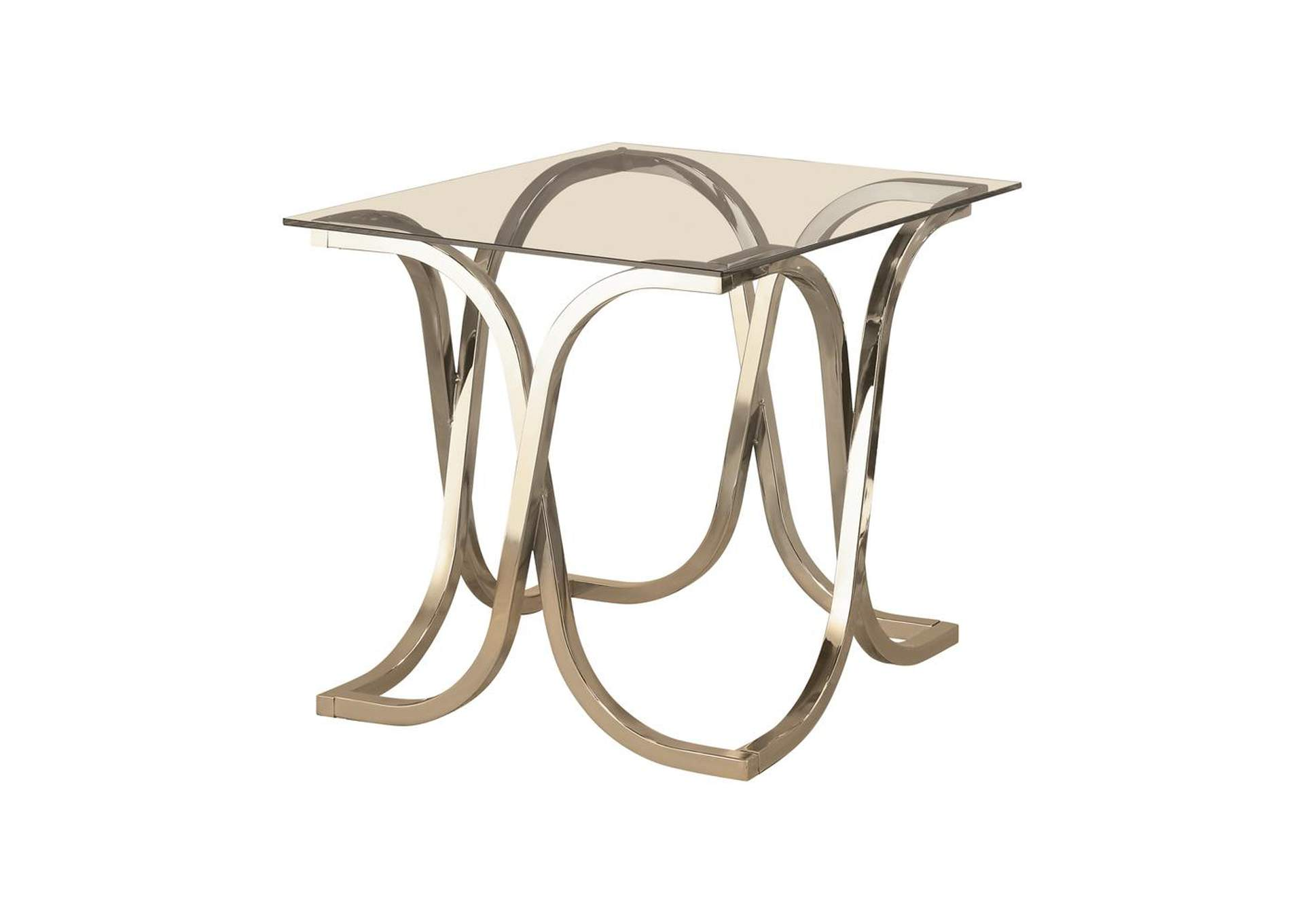 White Rock Contemporary Nickel End Table Furniture House Dover Nj