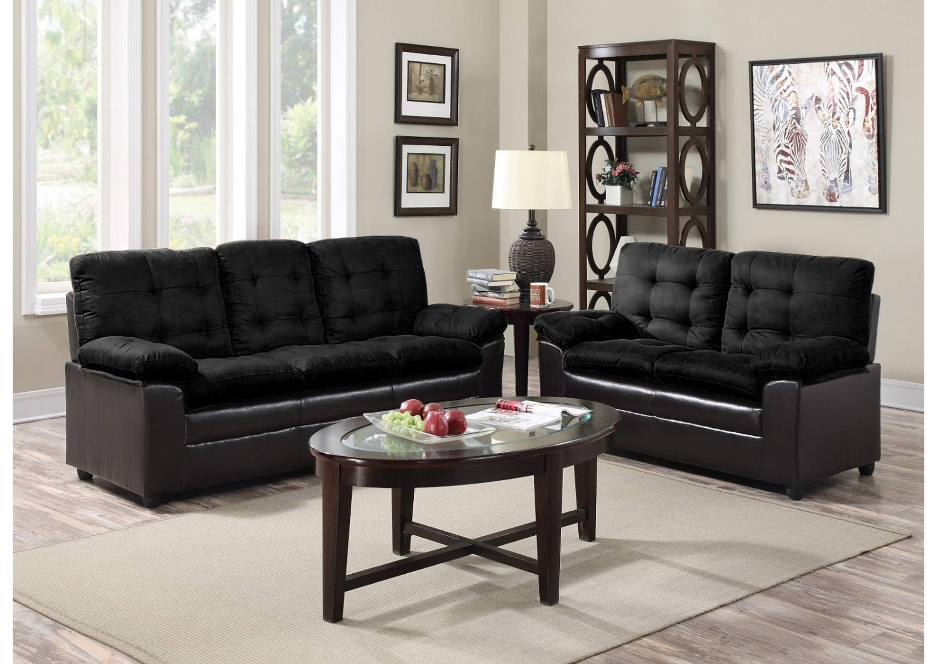 Black Microfiber Sofa Loveseat Roses Flooring And Furniture