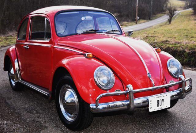 1965 65 VW Bug Volkswagen Red 2 Door Sedan 4 Speed Manual NO RESERVE