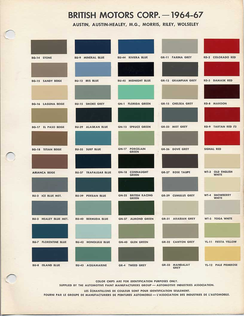Peinture Leyland Bmc Bl Paint Codes And Colors How To Library The Mg Experience