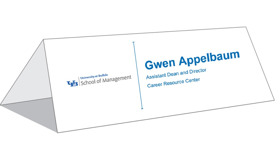 Name Tags and Table Tents - School of Management - University at Buffalo - template for name cards
