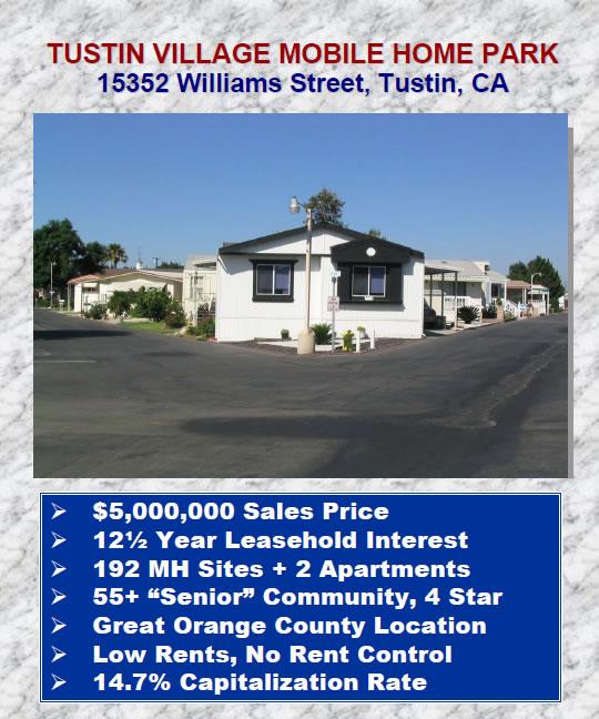 Sales Brochure - Tustin Village Mobile Home Park - home for sale brochure
