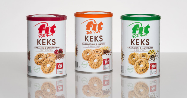Sonoco provides composite cans to package Fit for Fun biscuits by Hans Freitag