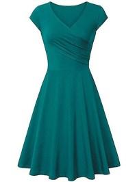 Simple V-Neck Plain Skater Dress - fashionMia.com