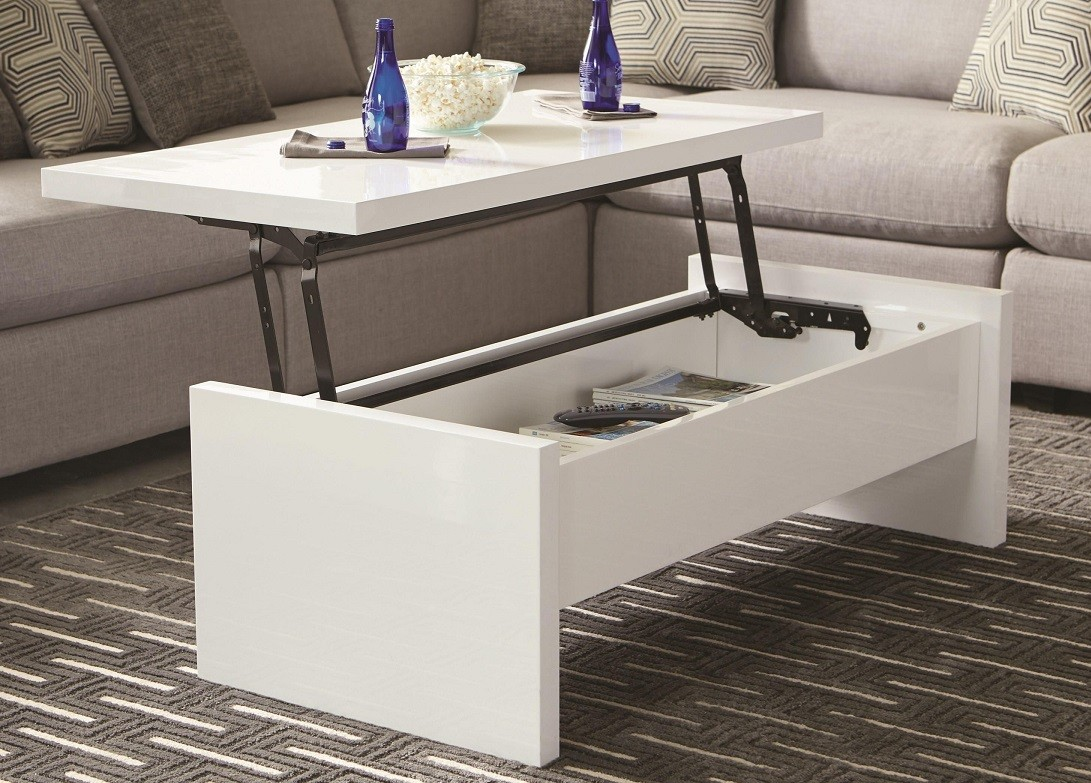 Double Lift Top Table Charlotte White Coffee Table 721248 Miami Furniture