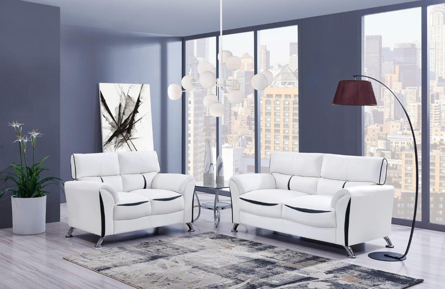 White And Black Sofa And Loveseat Miami Gallery Furniture