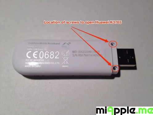 Huawei / Vodafone K3765-HV: Location of screws to open K3765