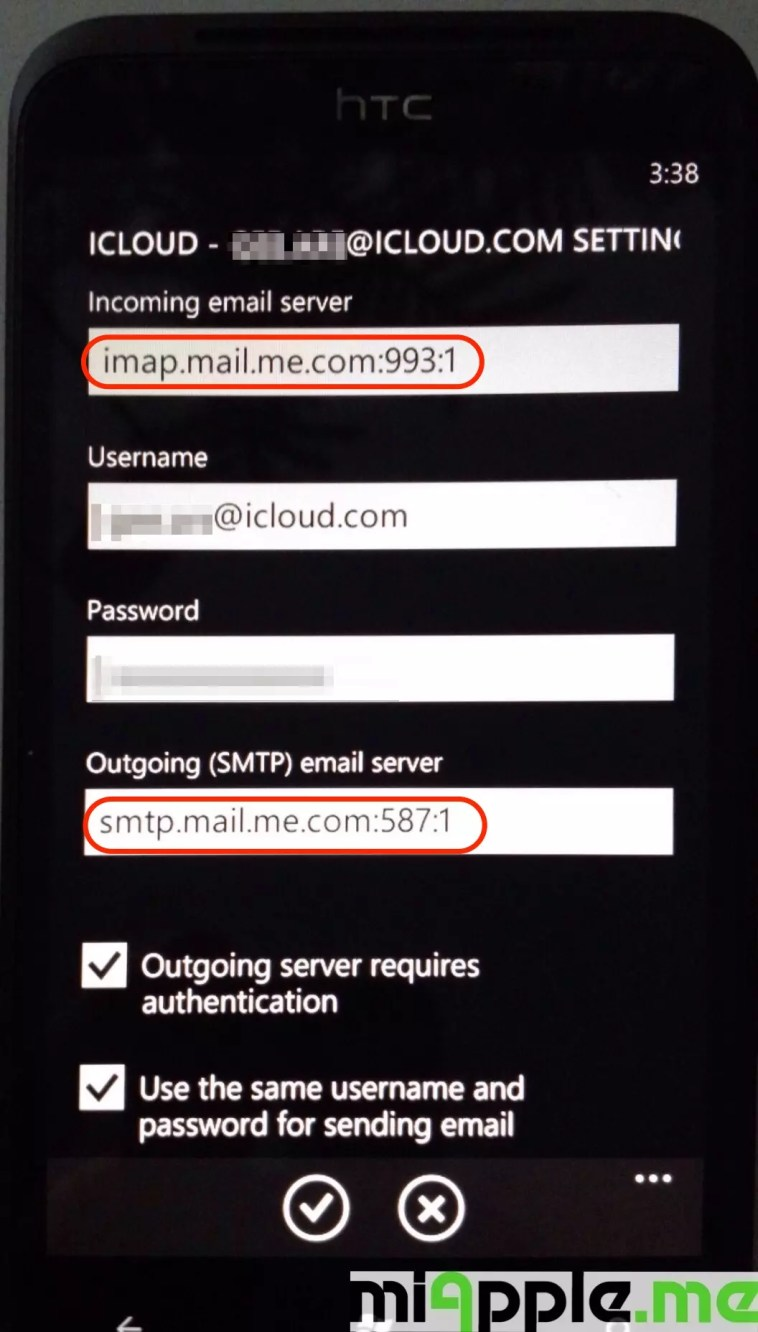 iCloud email set up on Windows Phone 7 and Windows Phone 8: IMAP and SMTP settings of iCloud email shown after normal set up procedure