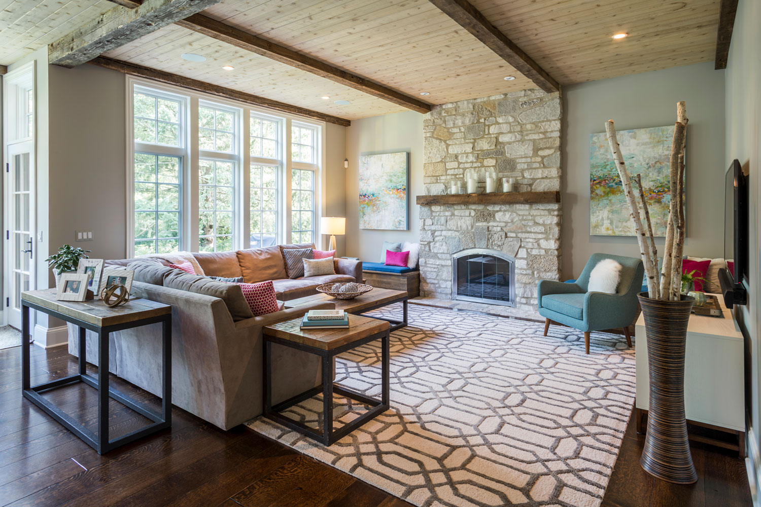 Rustic And Modern Living Room Chicago Interior Design Rustic Modern Mia Rao Design