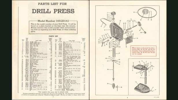 Parts list and exploded diagram for Craftsman 103.23141 (model 100) drill press.