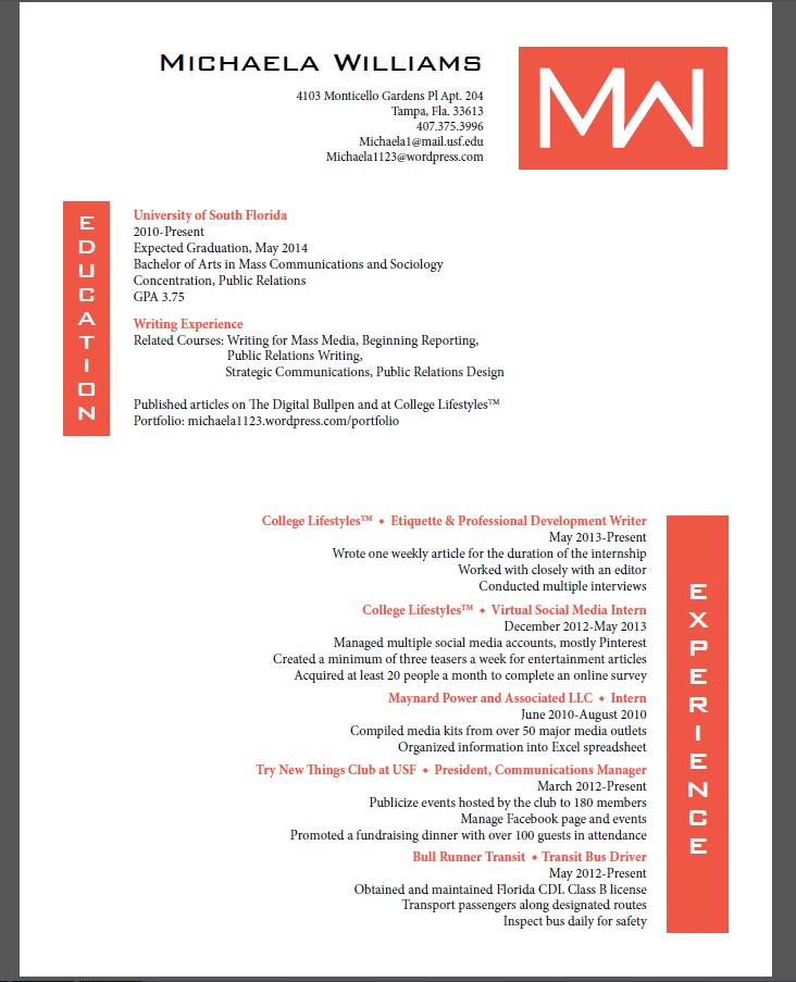 resume for public relations internship