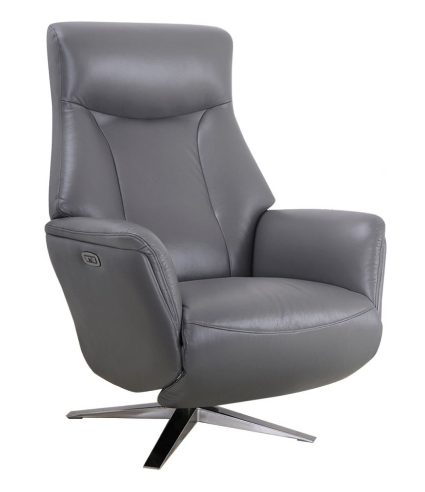 Gfa Houston Leather Power Recliner Chair In Iron Michael O Connor Furniture