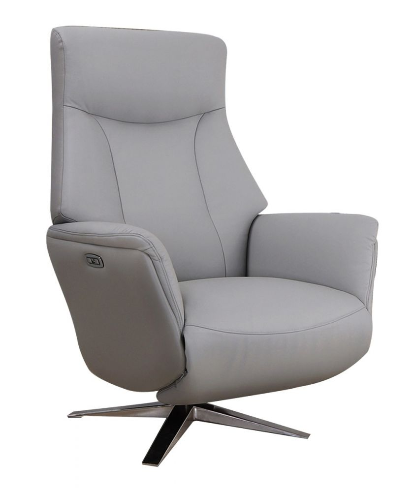 Gfa Houston Leather Power Recliner Chair In Platinum Michael O Connor Furniture
