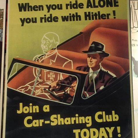 Ride-sharing signs from the 40s have a certain urgency that today's lack.