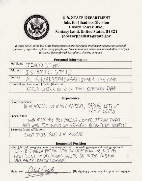 Employment Applications from Jihadis Innocent Bystanders