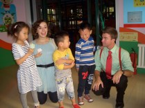 Meeting kindergarteners in Zibo, Shandong, China.