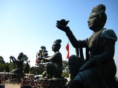 At the base of the Big Buddha at Ngong Ping, Lantau Island, in Hong Kong,