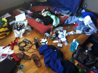 Packing for China. Minneapolis, USA.
