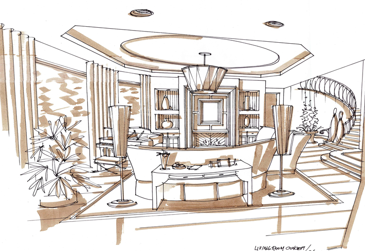 interior design curved ceiling sketch - Google Search Large - salon resume