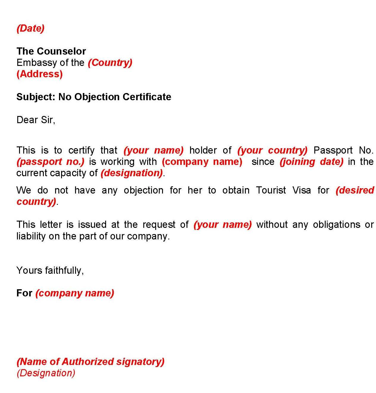 Doc12401754 No Objection Certificate for Job Doc12401754 – Sample of Noc Letter from Company