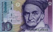 Gauss with bell shape banknote