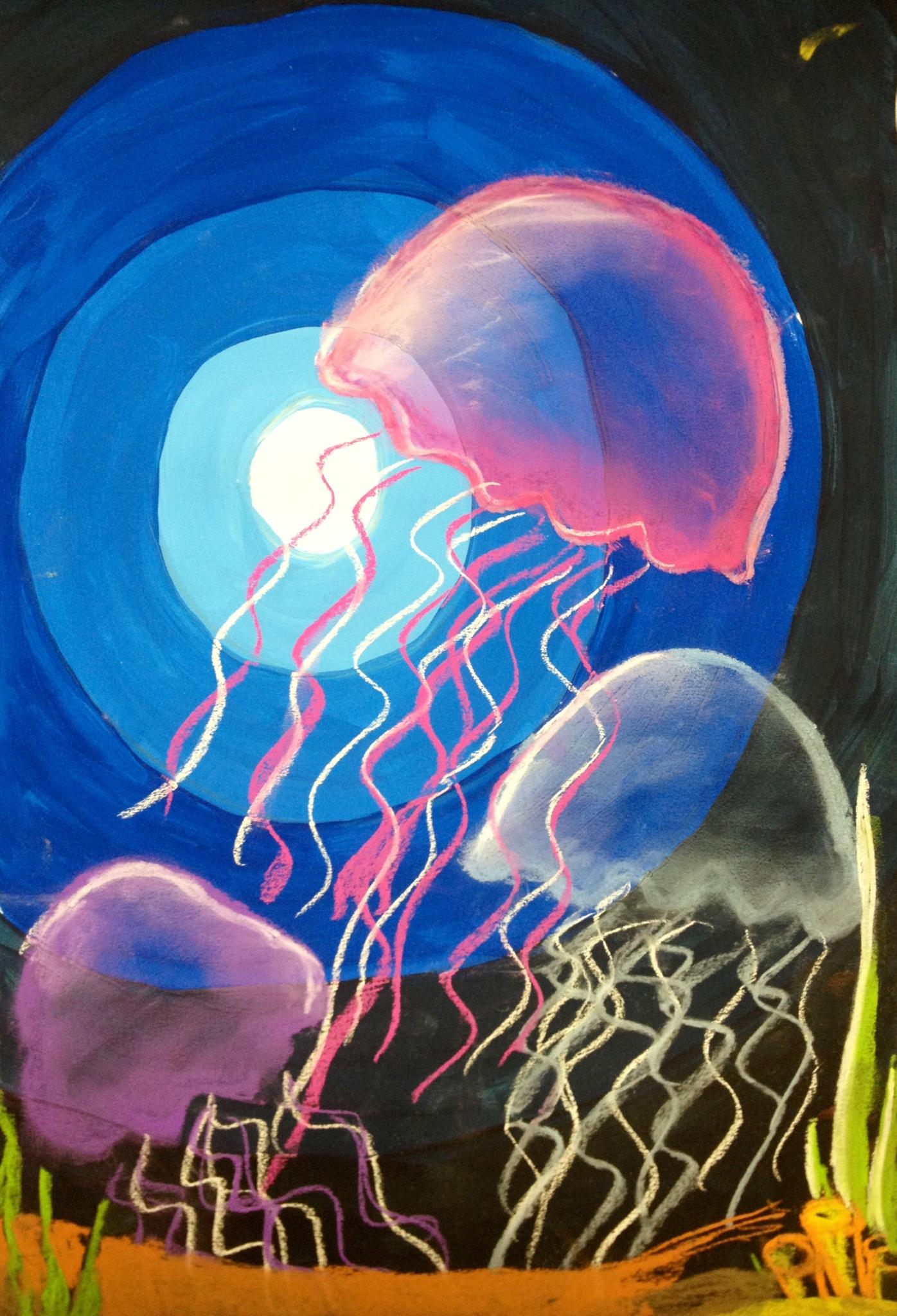 Jelly fish mixed media value lesson for Jelly fish art