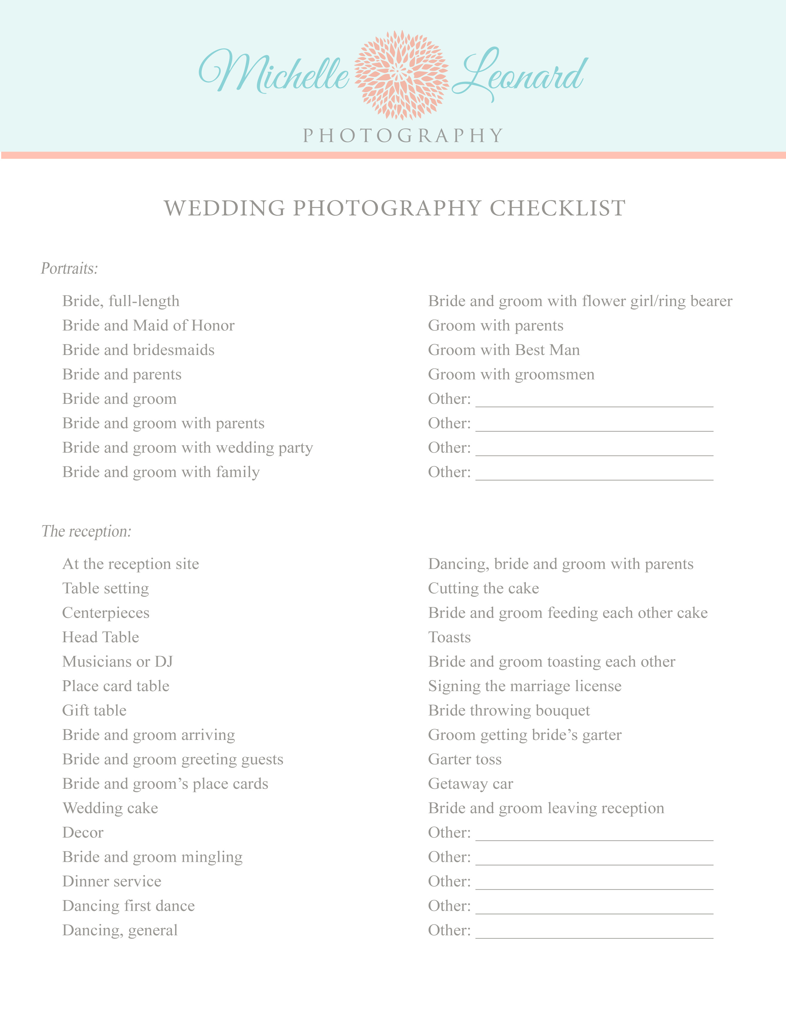 Modish Wedding Photography Wedding Photography Checklist Pg Form Samples Michelle Leonard Photography Wedding Photography Checklist Pdf Checklist wedding Wedding Photography Checklist