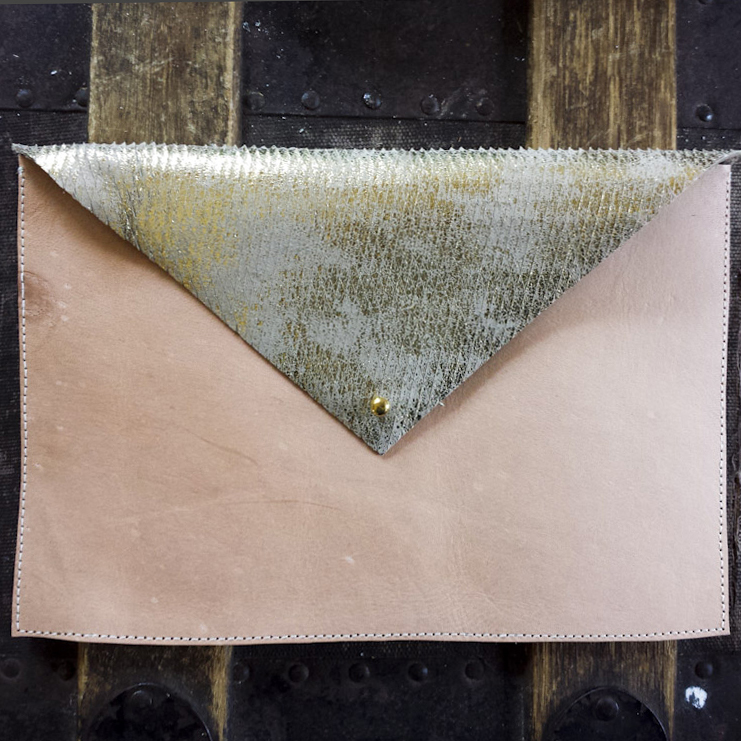 Leather Envelope Clutch – Natural Veg. Leather and Gold Wash – $55