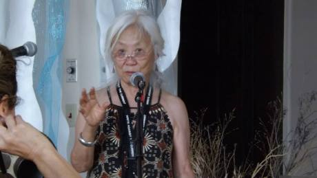 "Maxine Hong Kingston, author of the famed ""Woman Warrior,"" was our featured guest for the week. Ripley sat on her feet at the evening readings three nights running, making quite an impression."