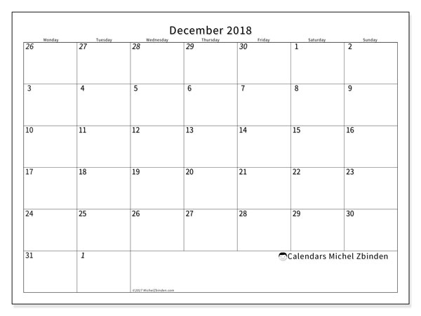 Calendars December 2018 (MS) - december monthly calender