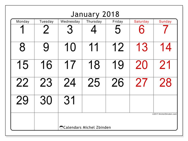 january 2018 calendar month - zaxa