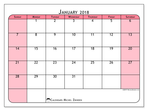 January 2018 Calendars (SS) - Michel Zbinden EN