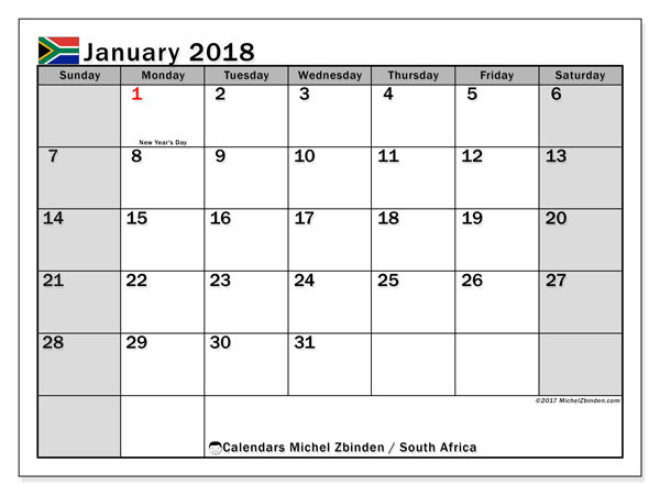 Calendar January 2018, South Africa - Michel Zbinden EN