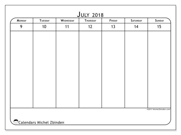 Calendar July 2018 (43-2MS) - print free weekly calendar