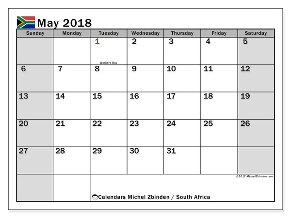 Calendar May 2018, South Africa - Michel Zbinden EN