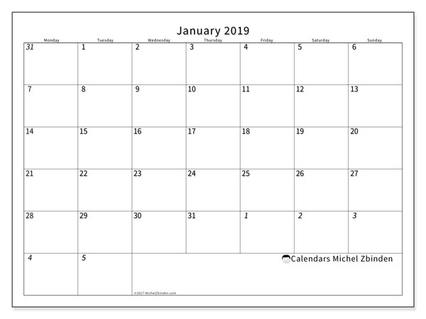 Calendar January 2019 (70MS) - Michel Zbinden EN
