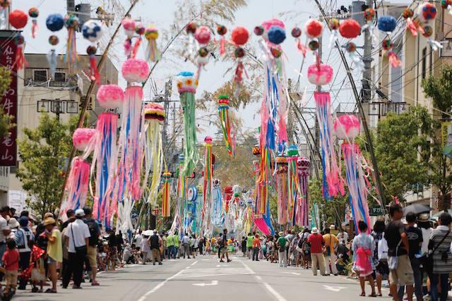 2015年7月、アイトピア商店街に5年ぶりに復活した七夕飾り