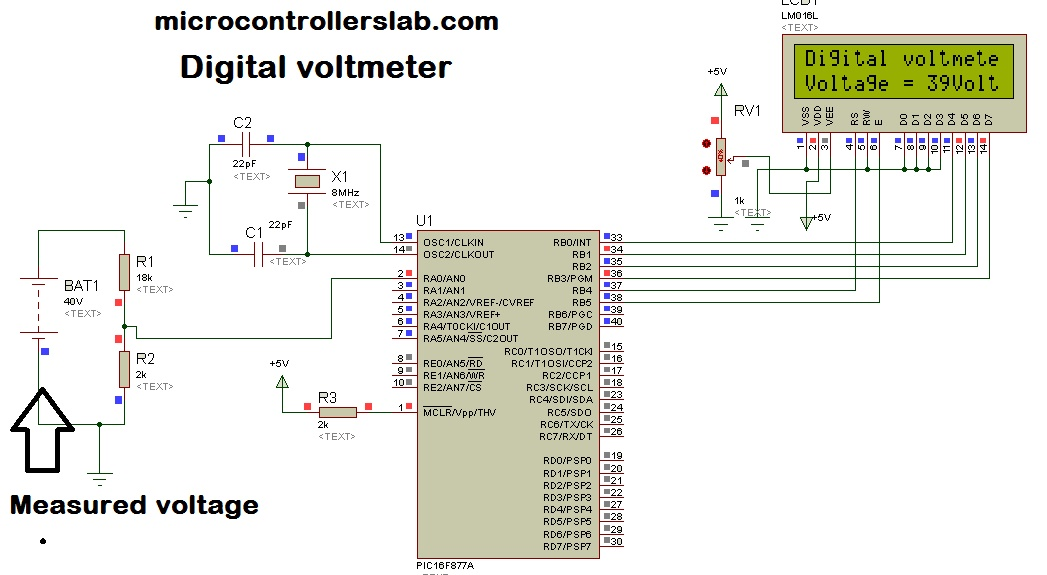 digital voltmeter using pic microcontroller project and circuit i0 wp com microcontrollerslab com wp content uploads 2015 05 digital voltmeter using pic microcontroller2 jpg