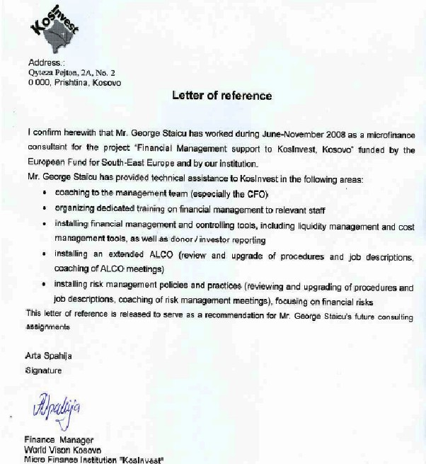 Letter of reference for George Staicu issued by Ms Arta Spahija